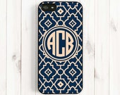 Quatrefoil iPhone 6 Case, Monogrammed Navy Blue Damask iPhone 6 Plus/5s/5c/5/4s Case, Samsung Galaxy s5/s4/s3 Samsung Note 3 Case QF39