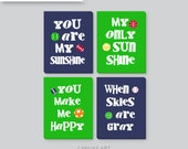 Boy CANVAS Art, Sports Nursery Decor, You Are My Sunshine Art, Navy and Kelly Green, Playroom art, baby boy gift, baseball, football, soccer