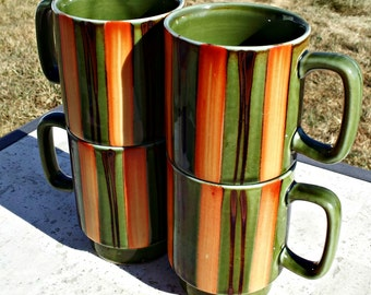 Set of Four Vintage Funky Mugs - Sage Green with Burnt Orange and Brown Stripes JAPAN Style Coffee Cups