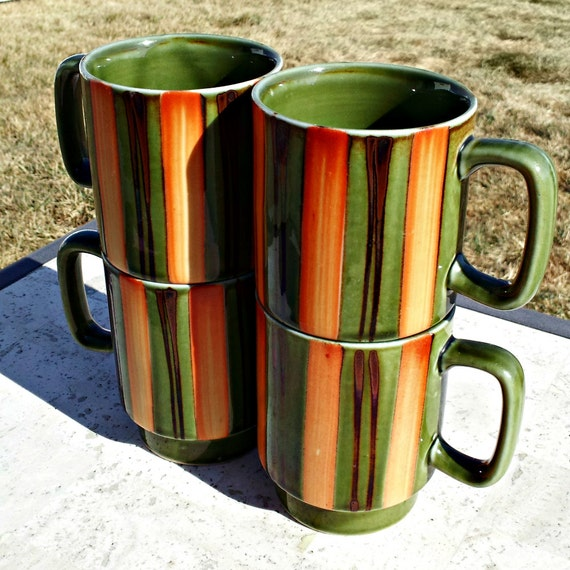 Set of four vintage funky mugs sage green with burnt by dollfood - Funky espresso cups ...