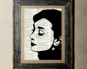 Audrey Hepburn - Printed on a Vintage Dictionary, 8X10, dictionary art, paper art, illustration art, collage