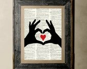 Buy 1 get 1 Free - Hands Love - Printed on a Vintage Dictionary, 8X10, dictionary art, paper art, illustration art, collage