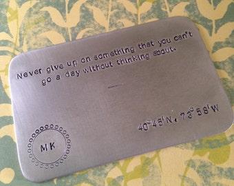 Wallet Insert Card Aluminum 10 Year Anniversary