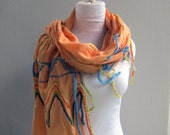 Tribal  Linen Scarf   Peach-orange scarf,  Shabby chic  ZigZag,  Native American Motif Rich Embroidery for Women ,Teen, Men
