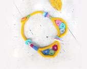 Multicolor necklace, Bright Colar, Peter Pan Collar, I Knitted Necklace, Crochet  Circles, Fiber art in yellow sunflower, rainbow necklace