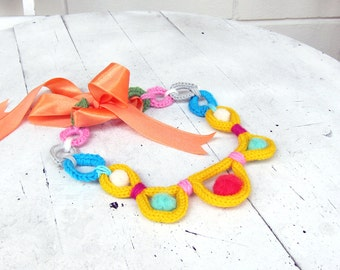 Knitted Crochet Collar or long  Necklace, Felt beads, Cord Necklace - I-cord Knit, Circle, satin ribon   - Yellow green pink blue Turquoise