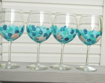 Beach wine glasses, blue and green, hand painted wine, summer wine glasses, beach house, sea glass wine, sea shells wine glass, pretty wine