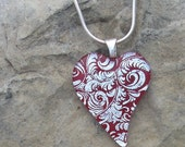 Red and Silver Heart Necklace Fused Dichroic Glass Red Heart Pendant