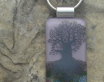 Lilac Tree of Life Necklace Fused Glass Tree Pendant