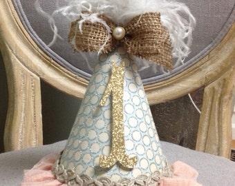 shabby chic first birthday hat