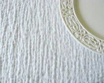 LINEN Fabric - DOUBLE face with softening-White/ White -- soft