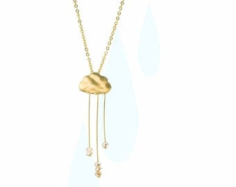 Rain cloud necklace  English Rain. Gold cloud necklace. Pearl rain necklace.
