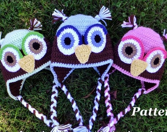 PATTERN: Crochet Earflap Owl Hat, Crochet Boys Winter Hat Pattern, Girls Owl Hat, Kids Crochet Owl Hat Pattern, baby owl hat pattern