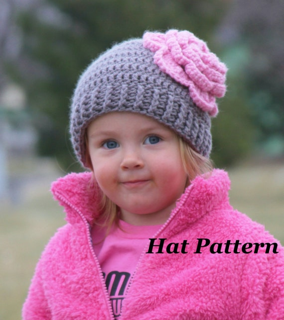 Crochet Beanie Pattern With Flower : CROCHET PATTERN: Bloomin Beanie Flower Crochet Pattern