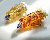 2 Summer Glass of Beer pendants Handmade Lampwork light amber beer dark amber beer ChristmasInJuly