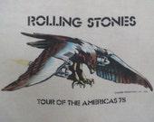 ROLLING STONES 1975 tour T SHIRT burnout