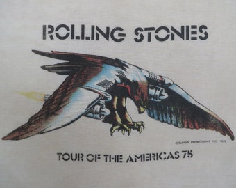 ROLLING STONES 1975 tour T SHIRT burnout