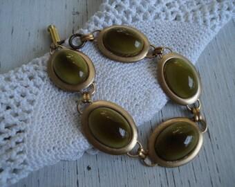 Vintage Olive Green West German Jade Glass Gold Bracelet Woodland Nature Inspired Autumn Fall