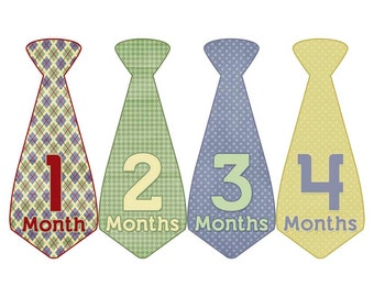 Monthly Boy Tie Stickers, Baby Announcement, Monthly Baby Stickers, Monthly Photos, Baby Gift, First Year Photo Prop, Blue Red  (BF032)