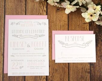 Printable Vintage Modern Wedding Invitation Template -Printable DIY Wedding Invitation. (1007)
