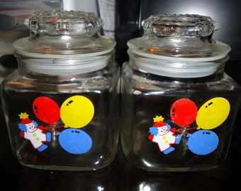 Vintage Apothecary Square Baby  Nursery Jars - Clowns & Balloons, Starburst Lids by Anchor Hocking