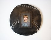 """Baseball photo frame - 16"""" wide 5x7 picture frame - metal wall art frame - 3D picture frame - black and steel picture frame - baseball photo"""