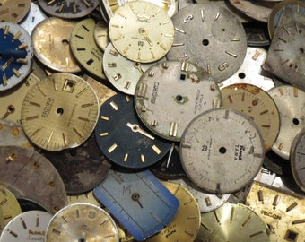 10 Old Watch Dials Distressed FACES Vintage Steampunk ART Supply