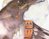 RAVEN ACEO watercolor giclee PRINT 'Keeper of the Moon' bird totem spirit mystical - Free Shipping