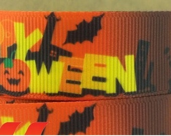 10 yards of 7/8 inch Happy Halloween Grosgrain ribbon