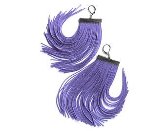 Violet Short Fringe Earrings.Purple Dangles.Amethyst Shoulder Dusters.Lavender Statement Drop Earrings.Lilac Chandelier.Mauve Drop Earrings