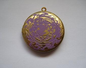 Purple patina circle locket