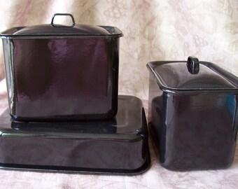 Vintage 1940s black enamel refrigerator leftover pans.    B37