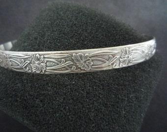 Oxidized Flower Cuff Bracelet