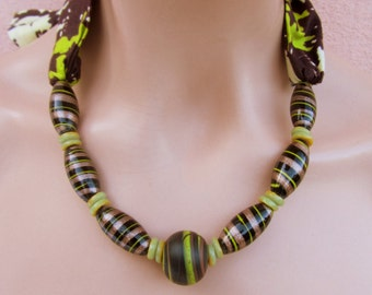 African wax print  fabric with recycled glass beads/ murano glass beads/ bib necklace/ dark brown and lime