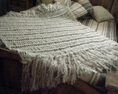 Cream Throw Blanket Cream Decor Blanket Beige and Ivory Throw Afghan Knit Housewares