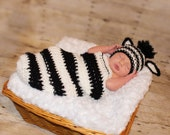 Newborn zebra cocoon and hat Newborn photo props photography