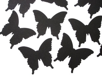 50 Medium Black Butterfly die cuts punch scrapbook embellishments - No549