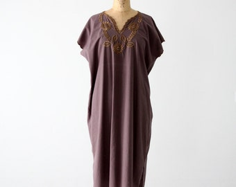 vintage tunic dress, embroidered bohemian dress circa 1960s