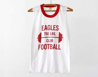 vintage 80s muscle tee, Eagles football ringer t-shirt
