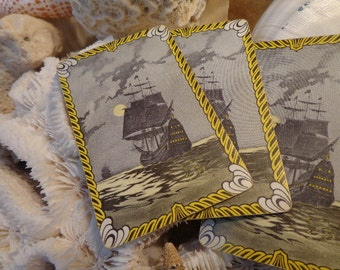 VERY Old Sailing Ship on Moonlite Sea Playing Cards, 4, Perfect for THANKSGIVING/Beach/Nautical tablescape, placecards, gift tags, vignettes