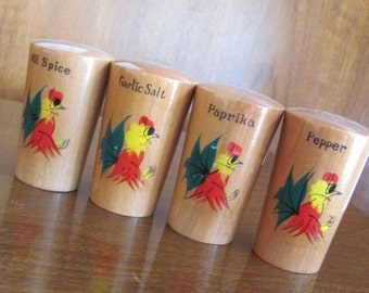 Vintage 70's Mod Mexican Rooster Wooden Spice Shakers - set of 4 - Kitchen - Spice - Dining - Paprika - All Spice - Garlic Salt - Pepper