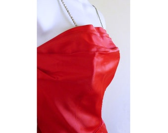 1960 Red Taffeta Party Dress with red crinoline and Rheinstone straps