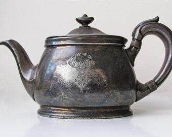 Vintage Elk Club Silver Plate Single Serving Teapot