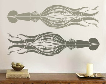Squid Stencil for Walls - Vintage-Style Squid - Large, Reusable stencil for DIY Home Decor