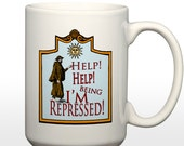 Help I'm being Repressed (Monty Python Parody) 15 oz Coffee Mug
