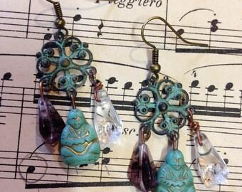 Buddha earrings / amethyst and crystal hand 272