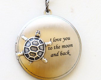 Turtle Locket, Locket,Silver locket-I love you to the moon and back ,Bridesmaid Necklace,Wedding Necklace,Valentines Day N
