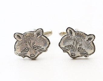 Raccoon  Cufflinks Silver Plated Metal Vintage Inspired Style Antiqued Finish Men's Cuff Links & Accessories Jewelry Gift,Father's Day Gifts