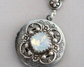 Personalization Locket Necklace,Moonstone Locket, Opal,Silver Locket,October Birthstone Locket,Wedding Necklace,bridesmaid