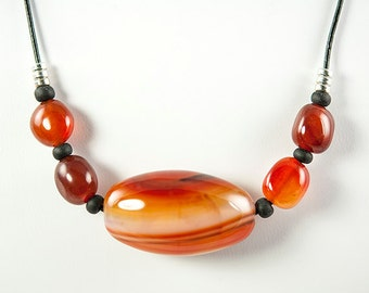 Carnelian Bead and Leather Necklace